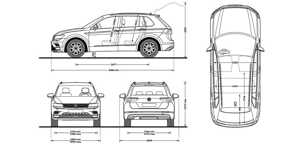 Габаритные размеры Фольксваген Тигуан: кузов, колеса, багажник
