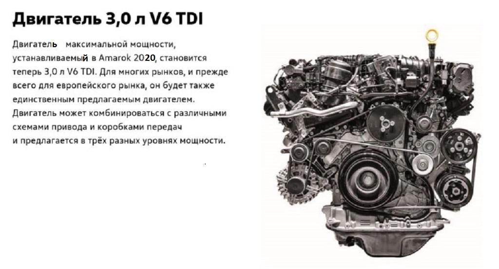 Какие двигатели стоят в Фольксваген Амарок 2020